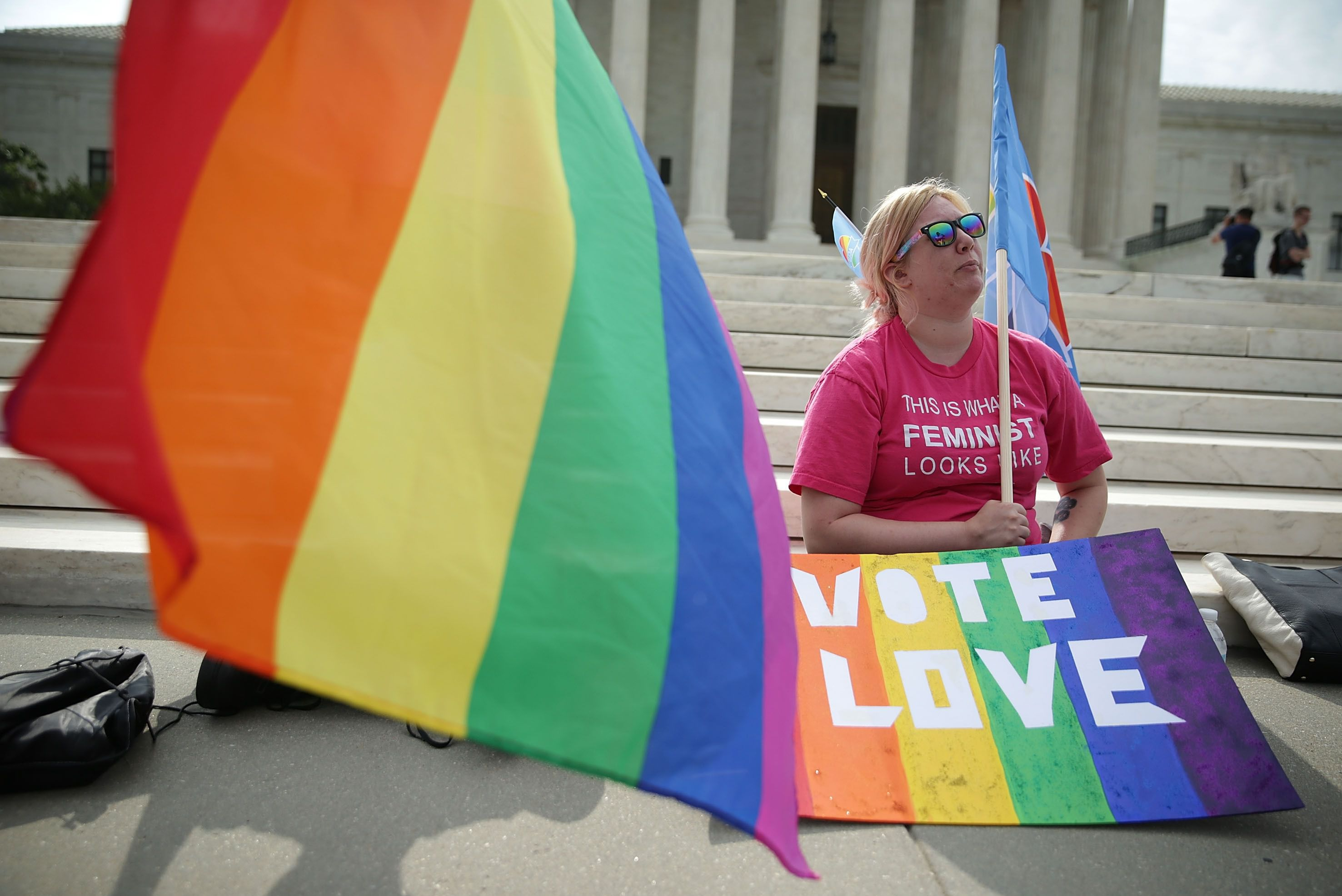 What 2 principles of democracy connect to gay marriage ?
