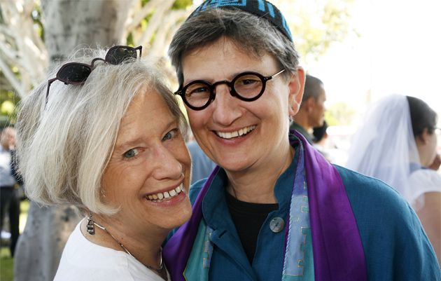 Mazel Tov!: Rabbi Lisa Edwards, right, and her wife, Tracy Moore, at their civil marriage in 2008 at Beth Chayim Chadashim in Los Angeles.