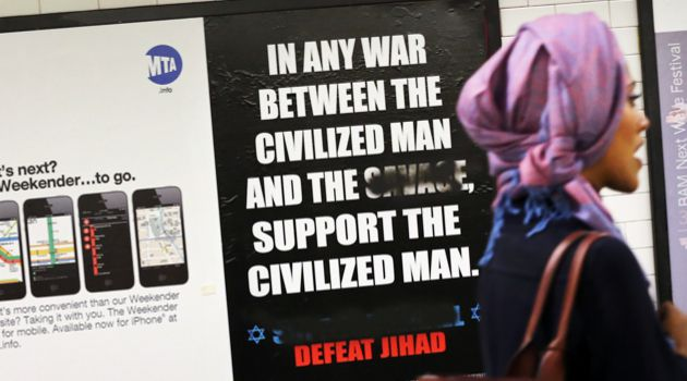 Hate: One of Geller's ads posted in the New York subway system.