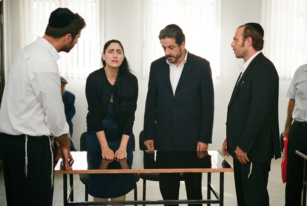 Ronit Elkabetz as Viviane in pleading her case in rabbincal court in 'Gett.'