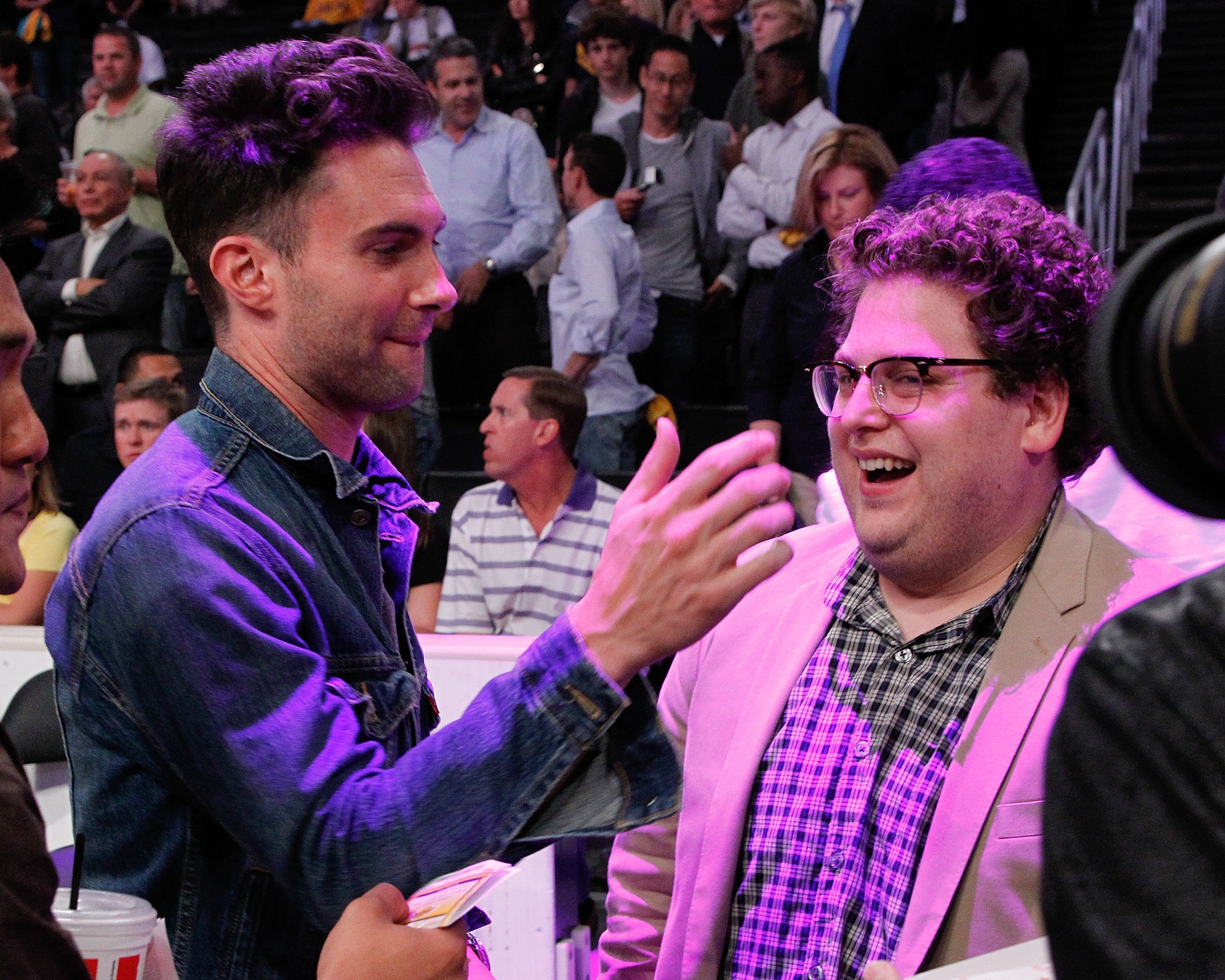 Adam Levine and Jonah Hill at a Lakers Game.