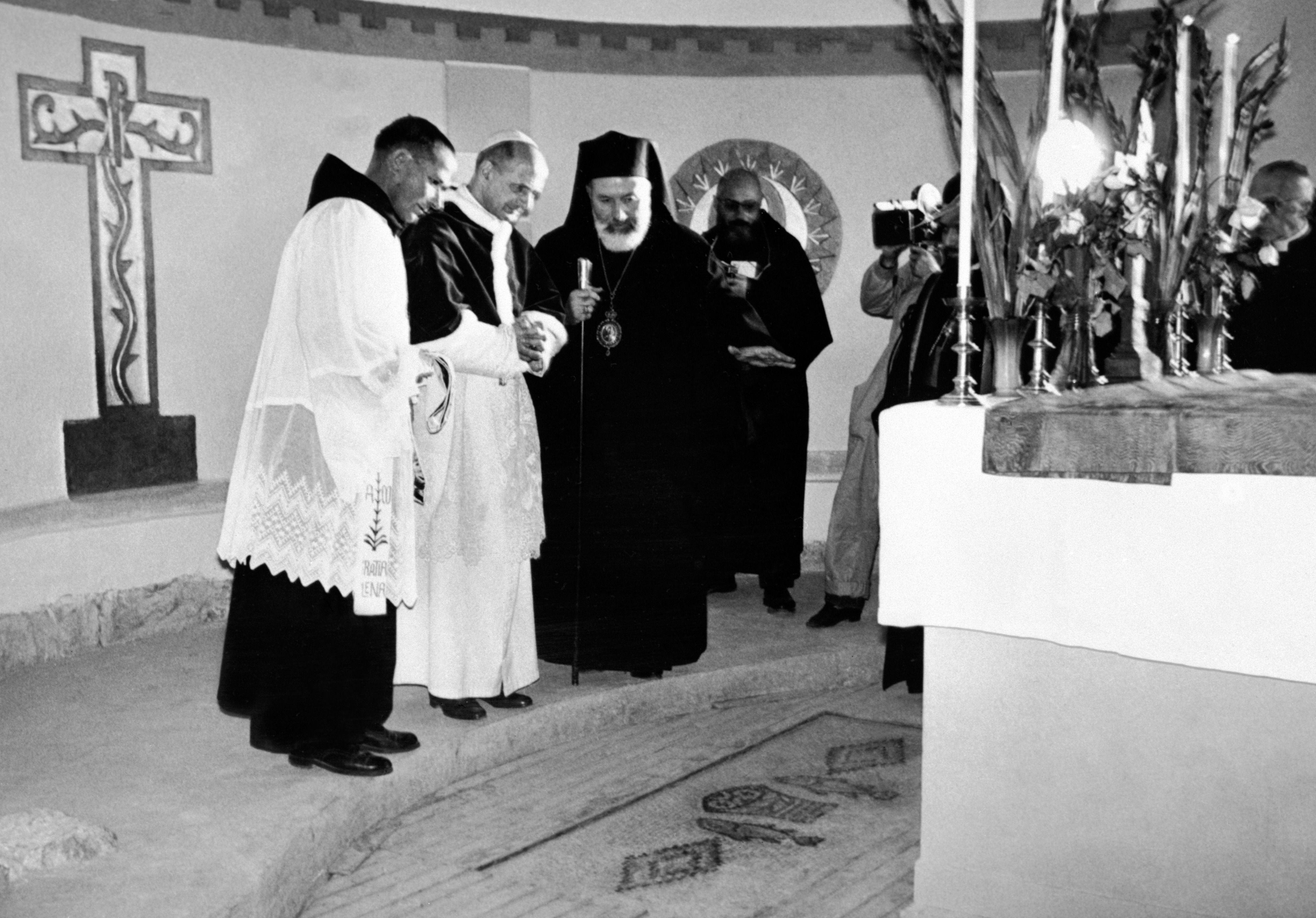 Pope Paul VI visits the Church of the Multiplication of Loaves and Fishes in 1964