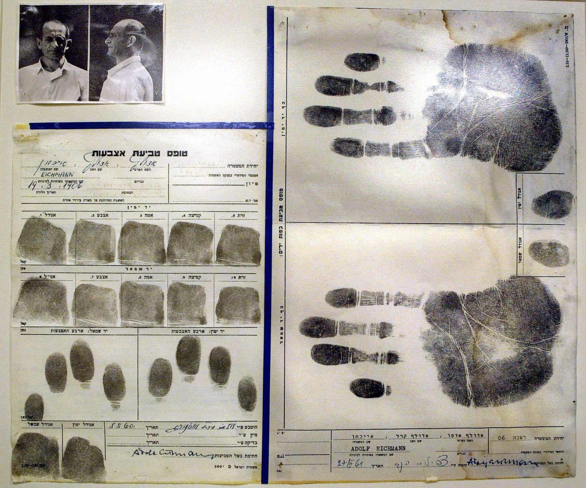 Print the Legend: A reproduction from the Holocaust Museum at Yad Vashem of the Israeli file on Adolf Eichmann.