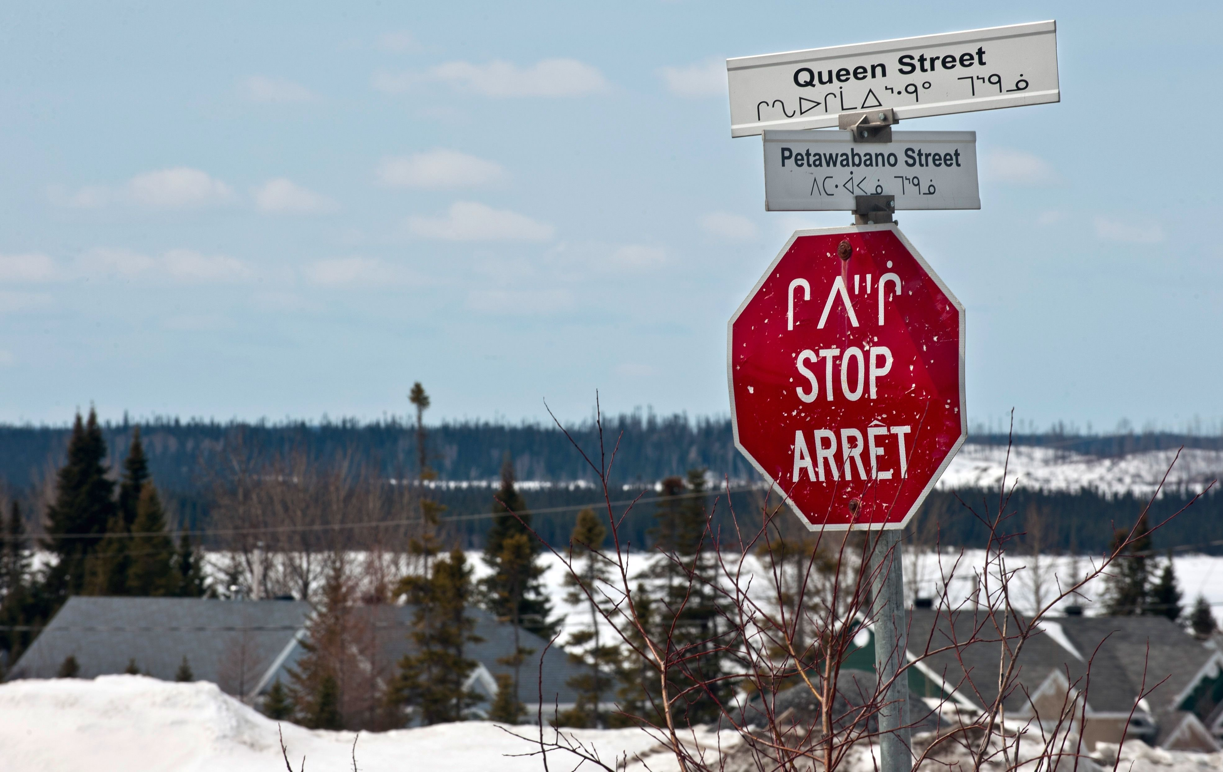 Signs in the Cree Nation of Mistassini, Quebec.