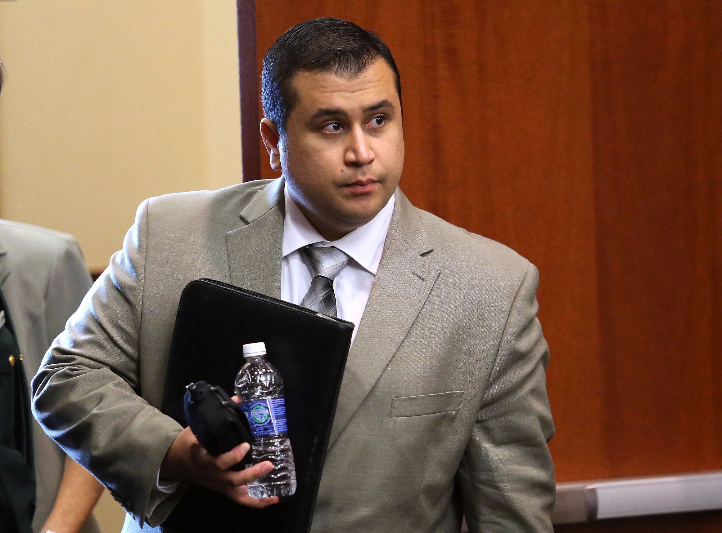 George Zimmerman arrives in the courtroom for the 21st day of his trial.