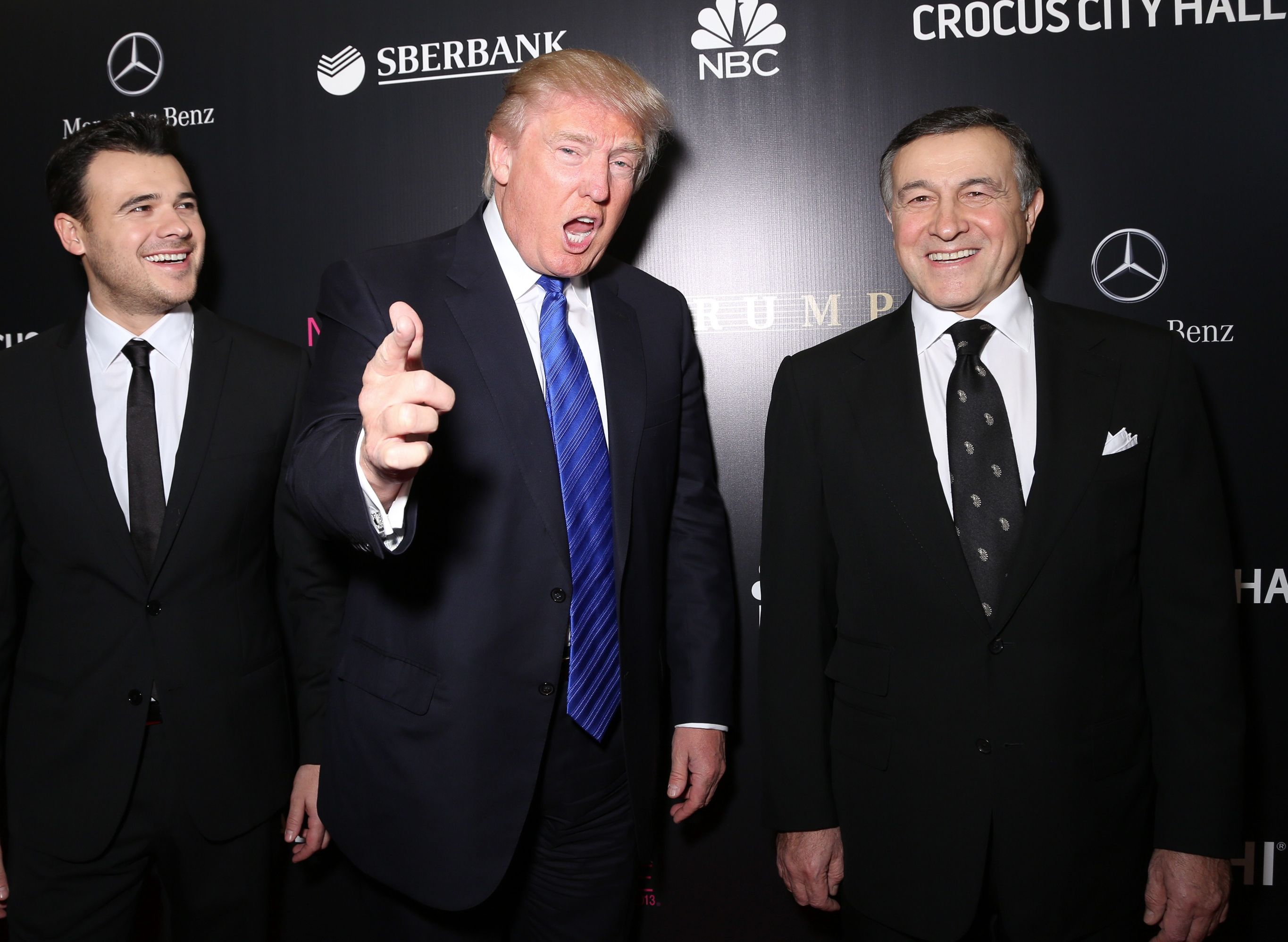 Emin Agalarov, Donald Trump and Aras Agalarov at the Miss Universe Pageant Competition in Russia in 2013.
