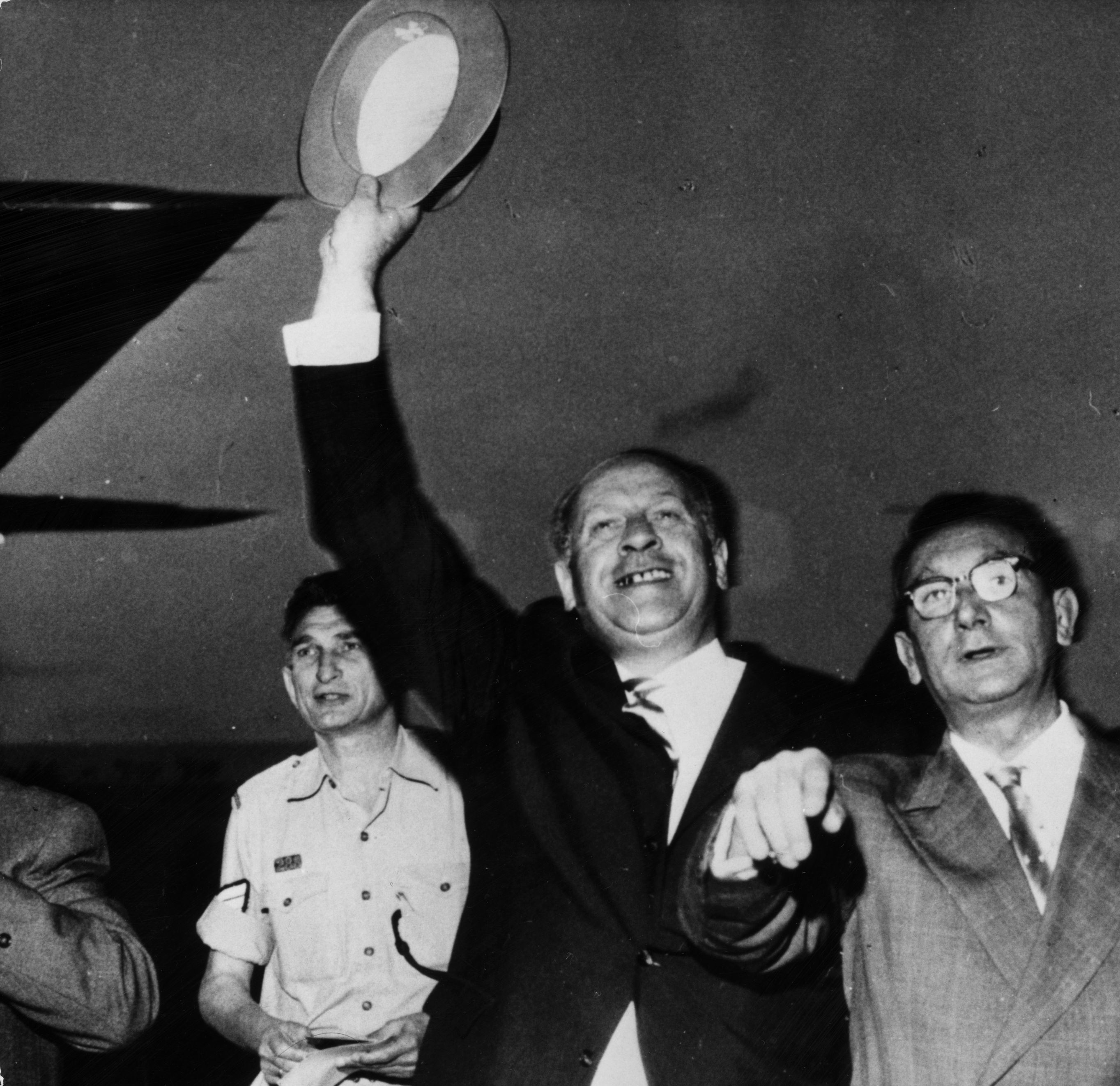Schindler in Israel: German industrialist Oskar Schindler who famously saved the lives of over a thousand Jews during the Nazi era, arrives at Jerusalem airport on May 3, 1962.