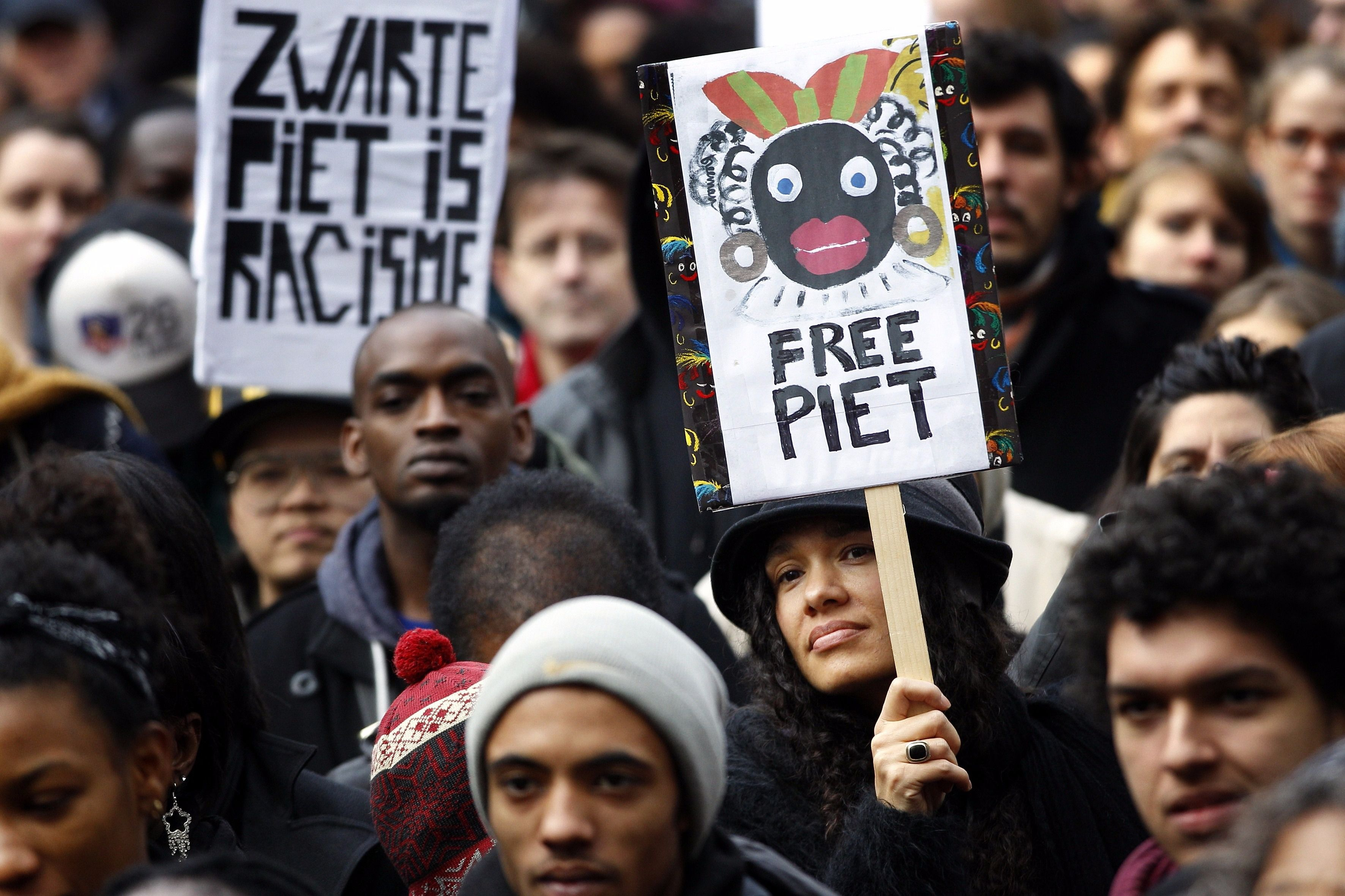 "A protest against ""Zwarte Piet"", a blackface Christmastime tradition in the Netherlands."