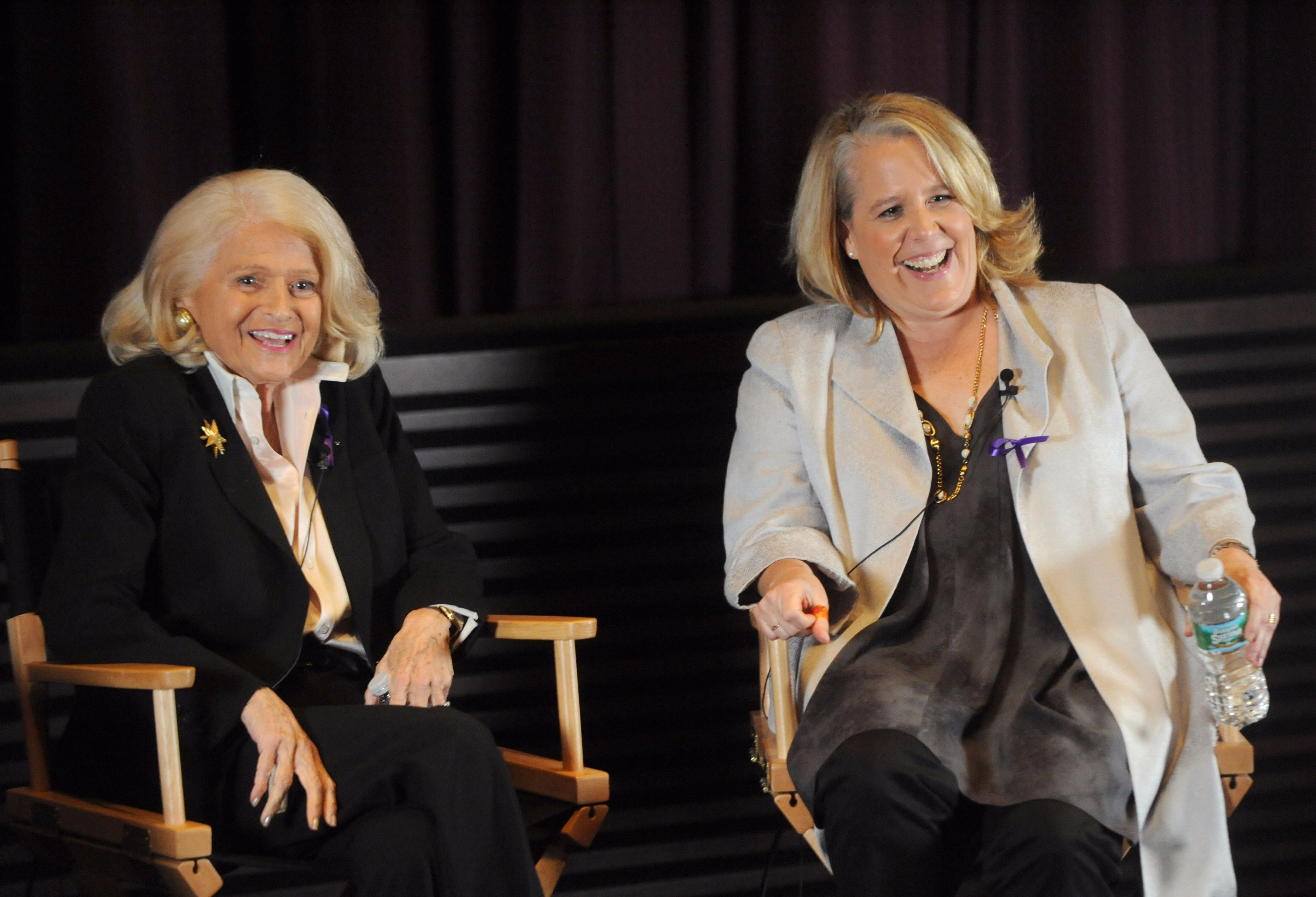 Robert Kaplan, right, sitting with Edie Windsor.