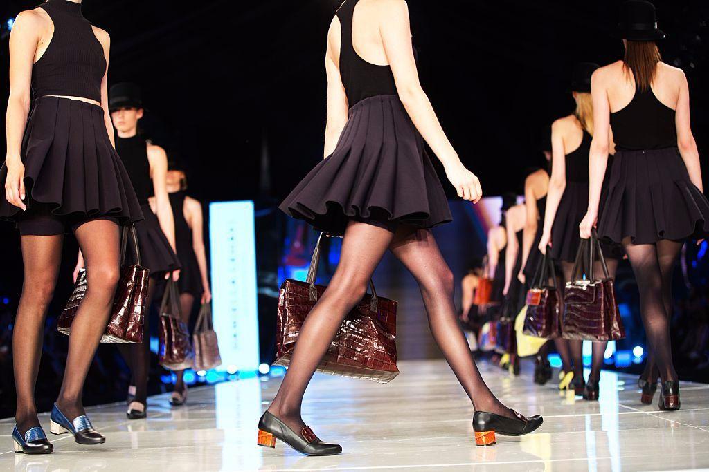 Models present a creation by Israeli accessories designer Daniella Lehavi during Gindi TLV Fashion Week.