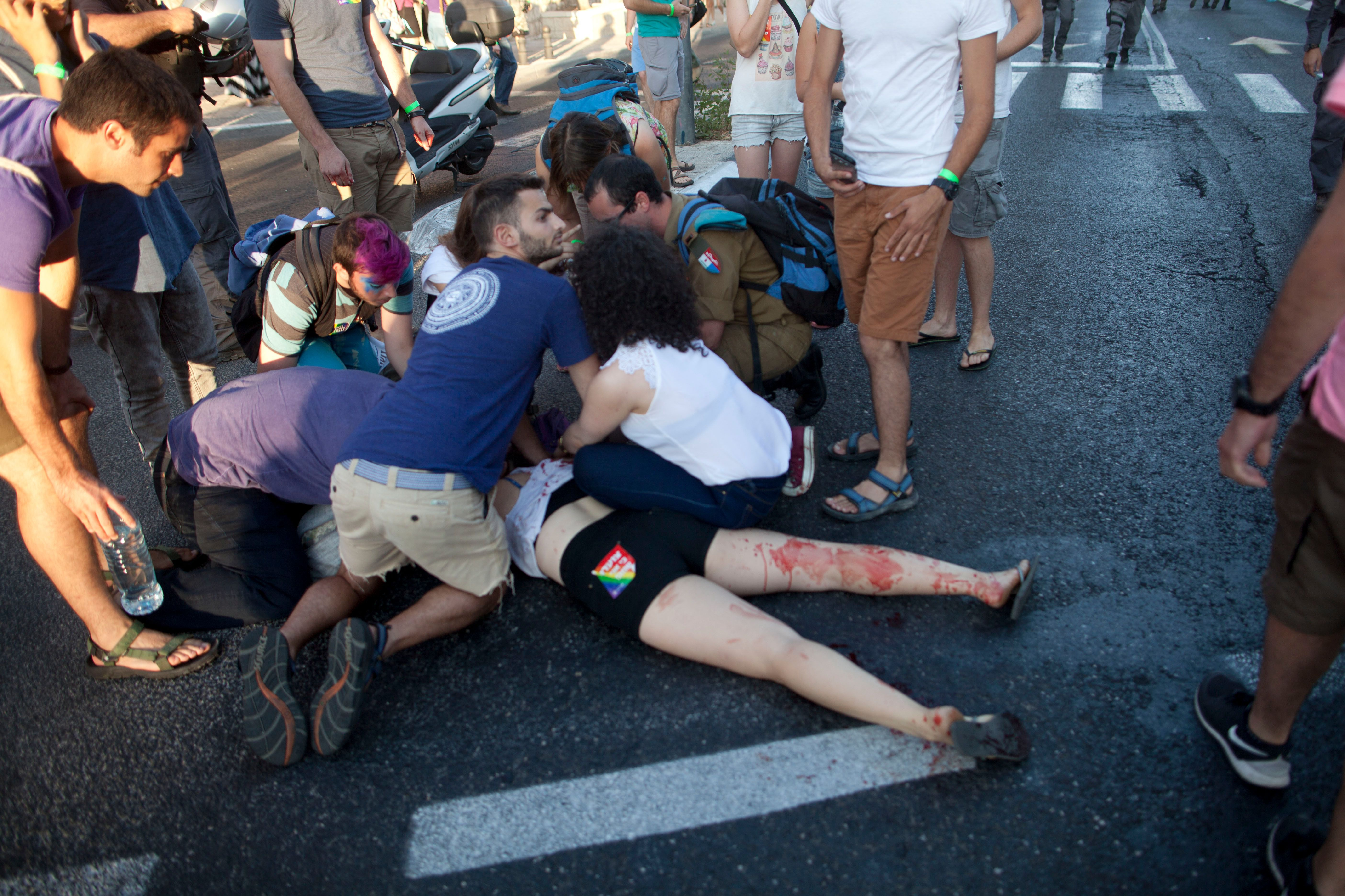 The sights after the stabbing at last week's Pride Parade in Jerusalem