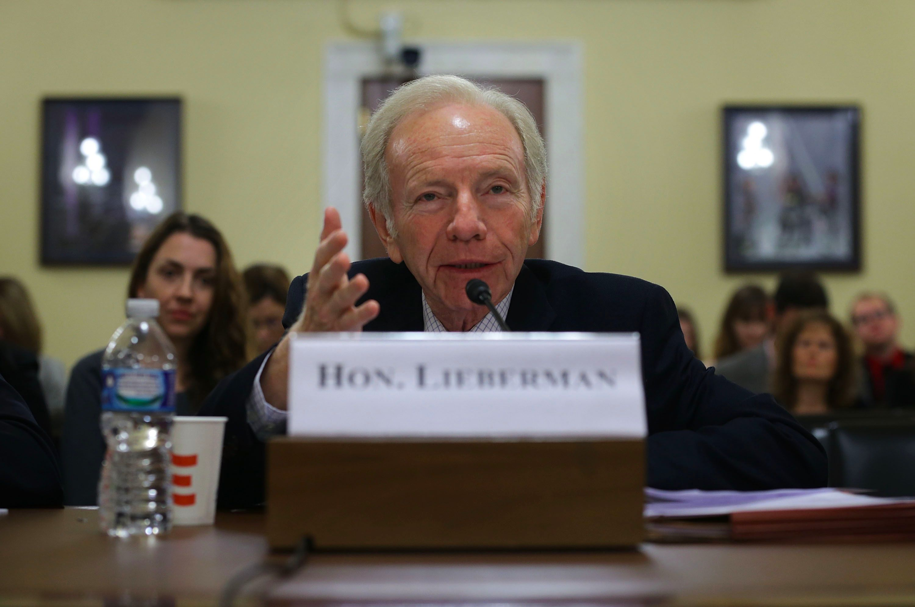 Former Sen. Joseph Lieberman (I-CT) testifies during a hearing before the House Homeland Security Committee November 3, 2015 on Capitol Hill in Washington, DC.