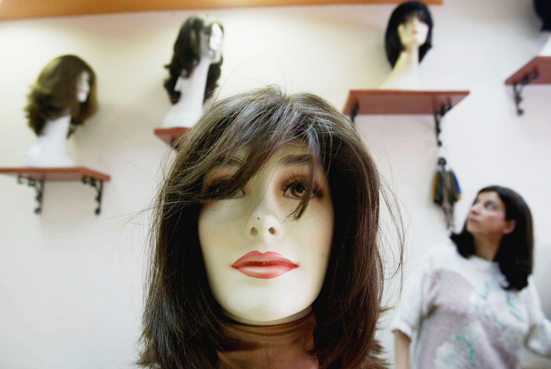 Sheitel (wig) store in Bnei Brak, Israel.