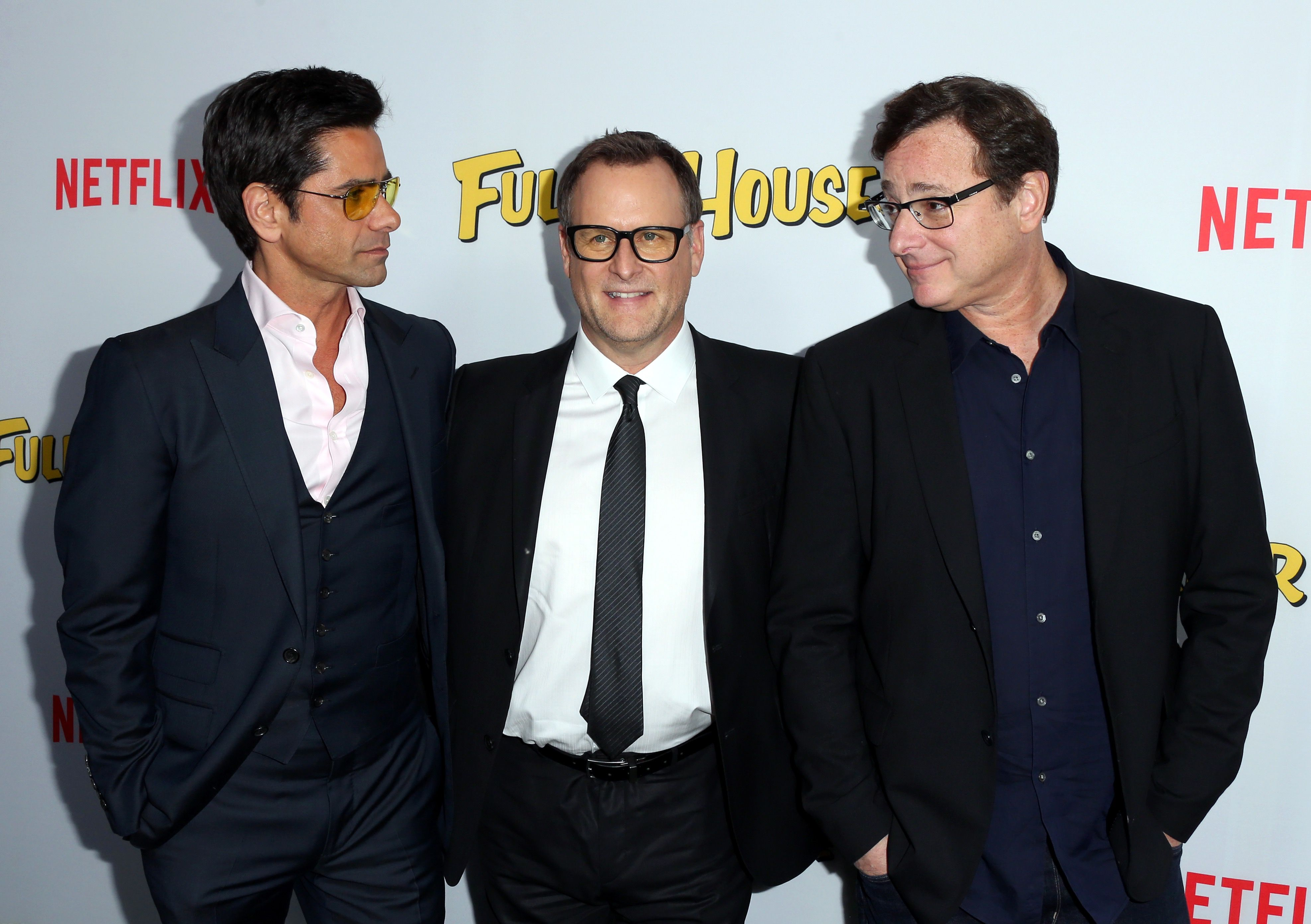 Actors John Stamos, Dave Coulier, and Bob Saget attend the premiere of Netflix's 'Fuller House.'