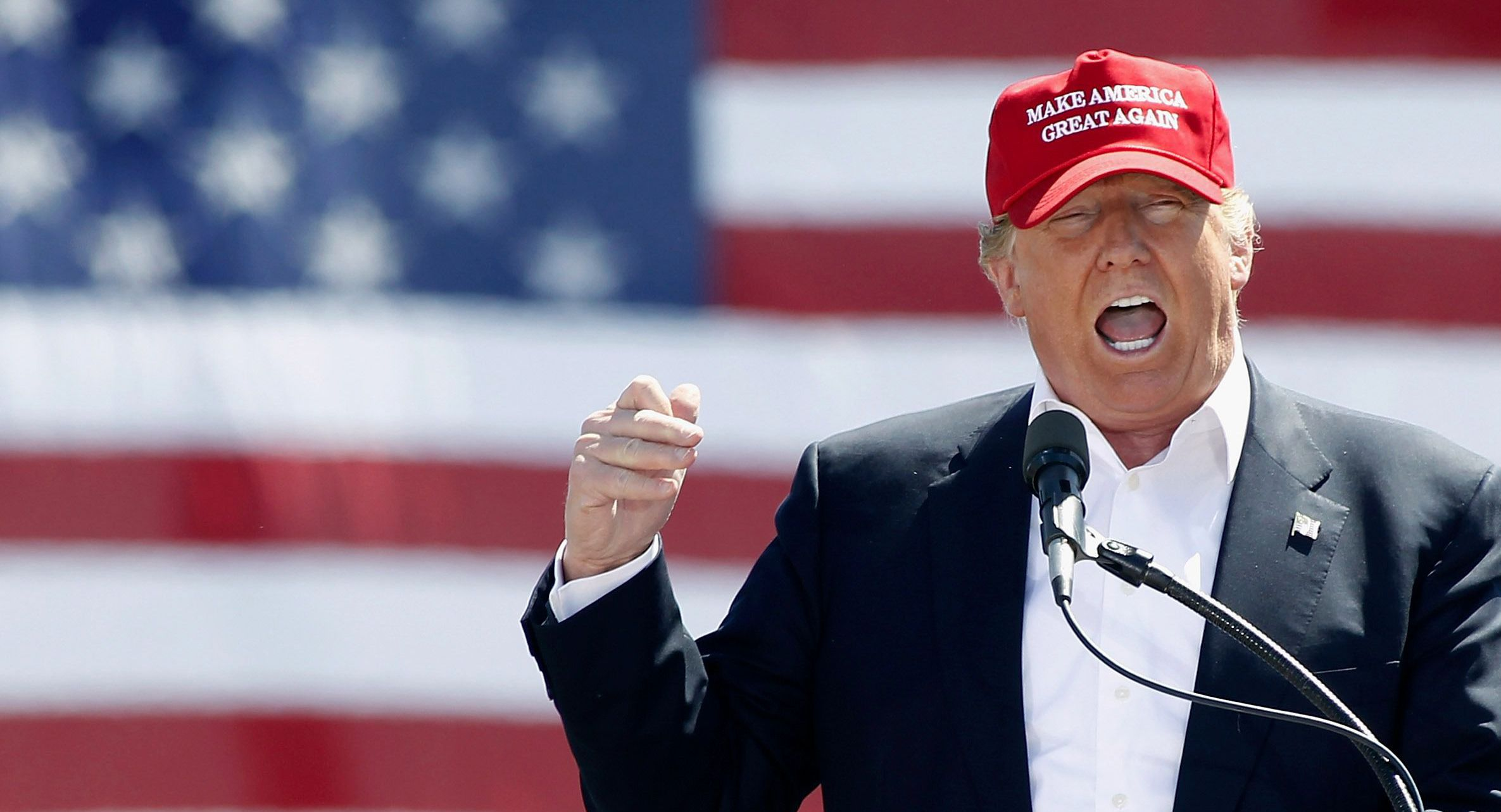 Donald Trump speaking at a rally during his presidential campaign.