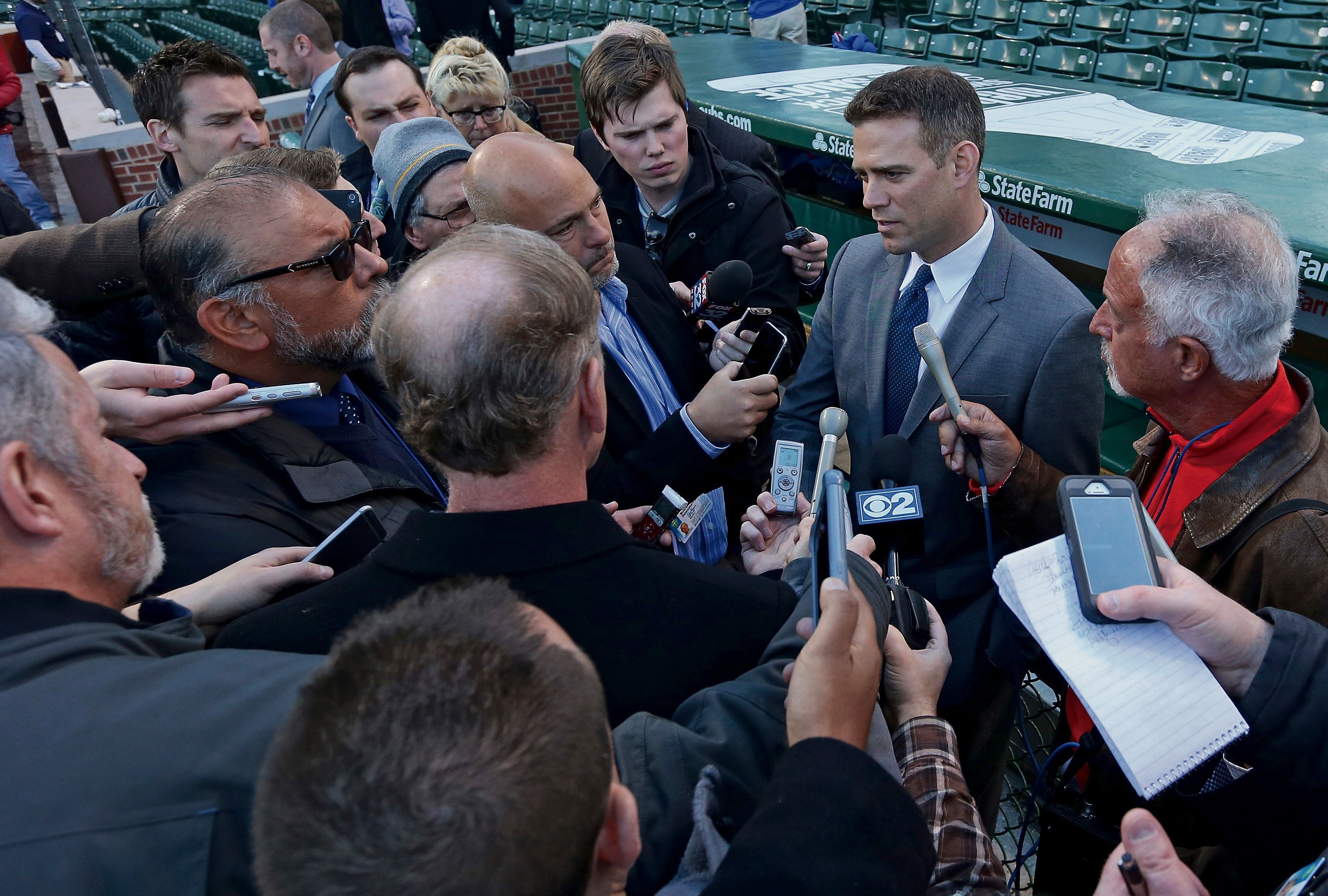 Big Hitter: Theo Epstein, the Cubs' president of baseball operations, talks with reporters during Cubs batting  practice in April.