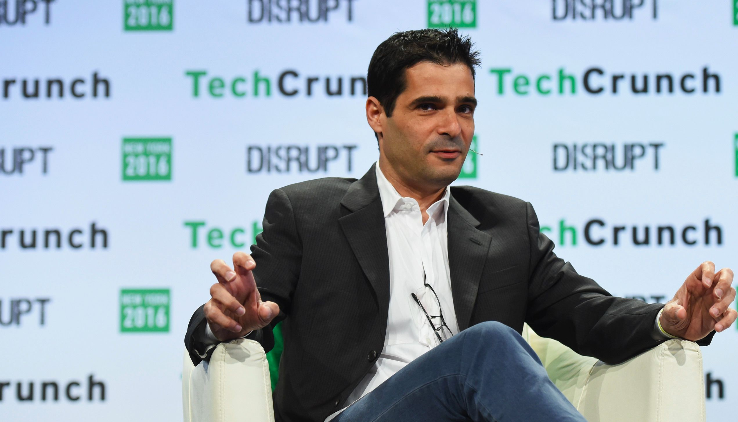 Talmon Marco speaks during TechCrunch Disrupt NY 2016 at Brooklyn Cruise Terminal on May 10, 2016 in New York City.