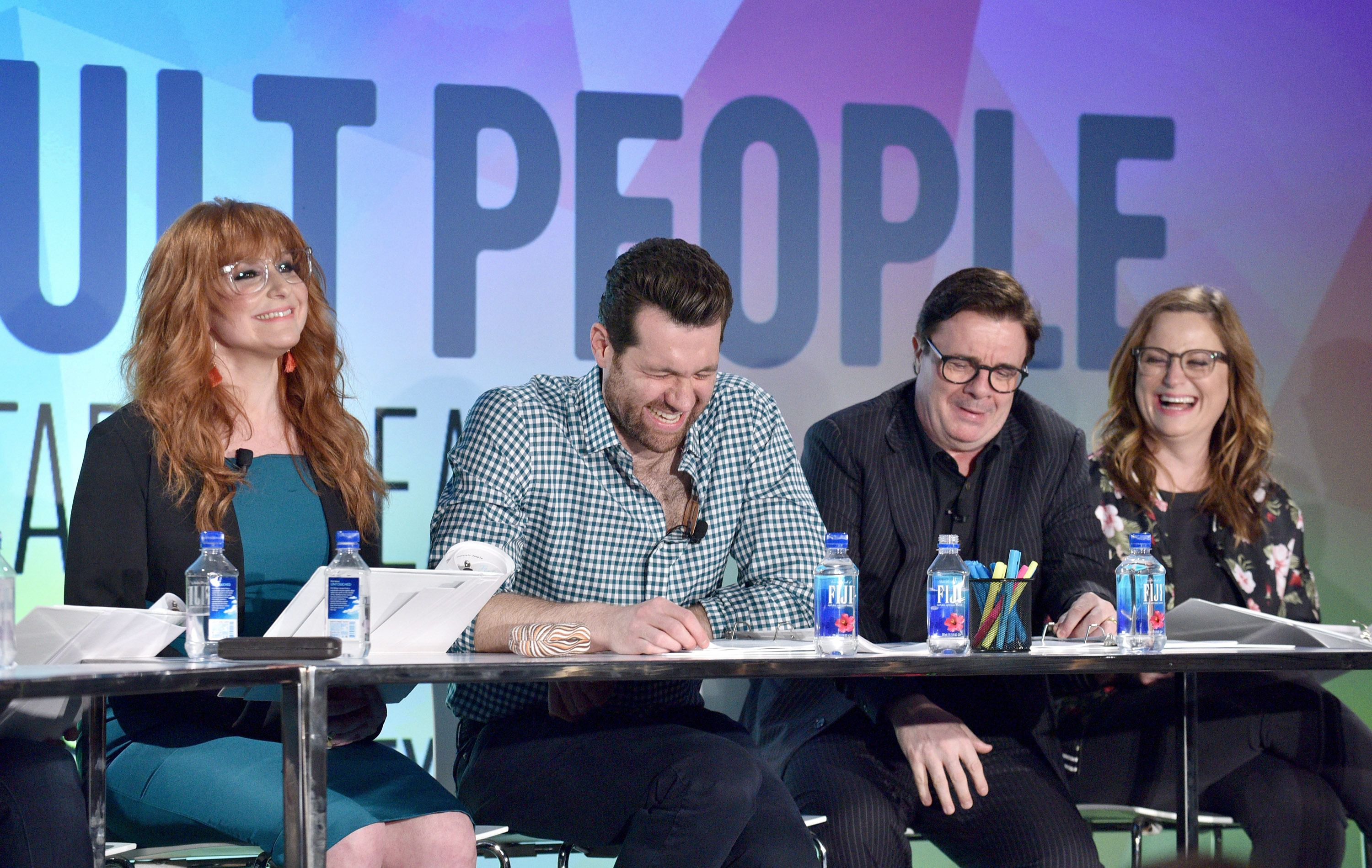 Nathan Lane, Billy Eichner, Amy Poehler and Julie Klausner at a reading of 'Difficult People.'