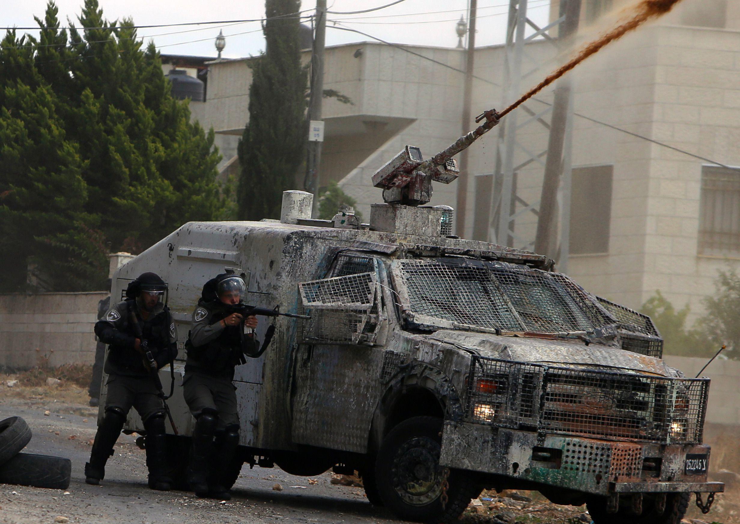 Israeli security forces on May 27, 2016 in the village of Kfar Qaddum, near Nablus.