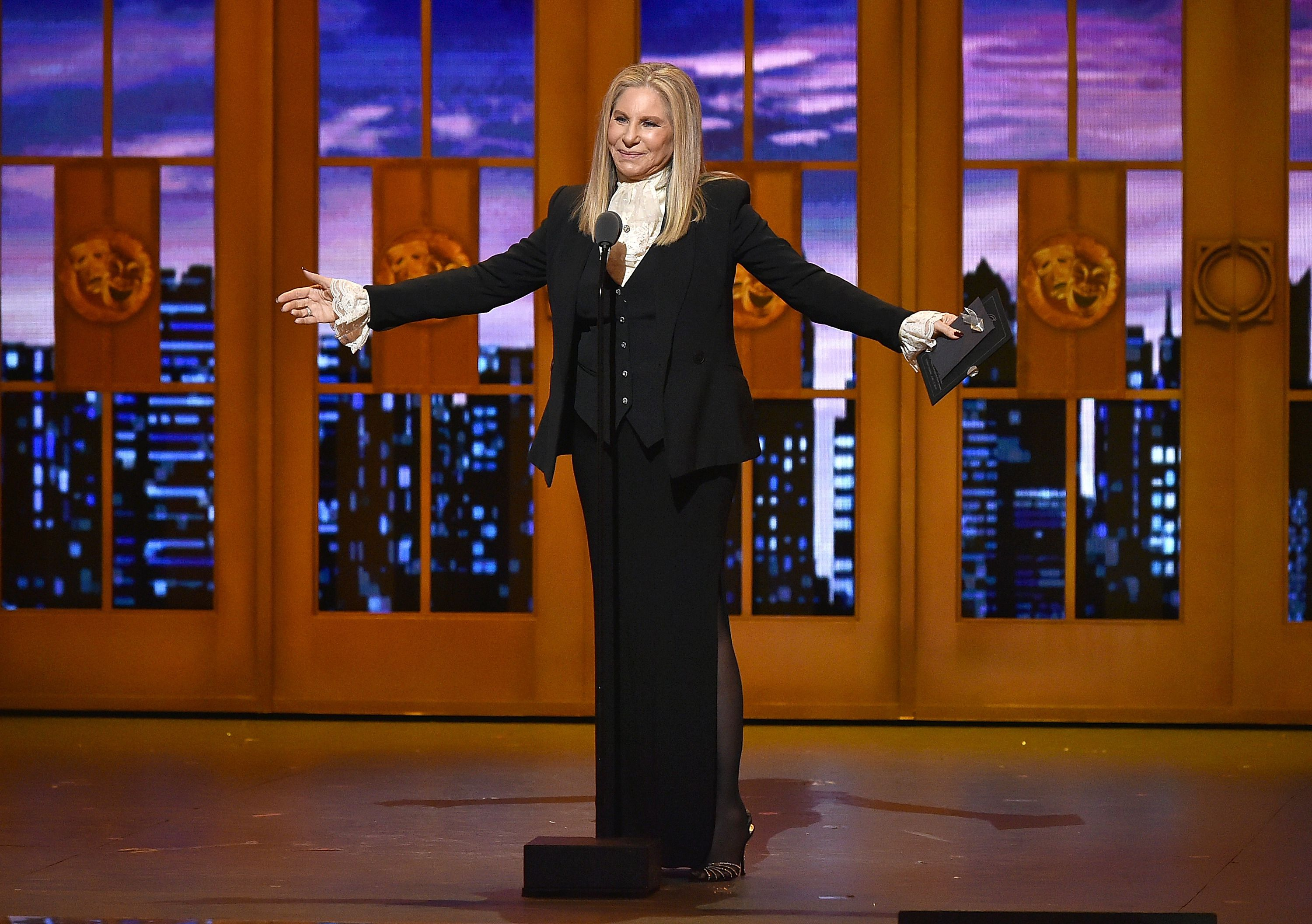 Barbra Streisand speaks onstage during the 70th Annual Tony Awards at The Beacon Theatre on June 12, 2016 in New York City.