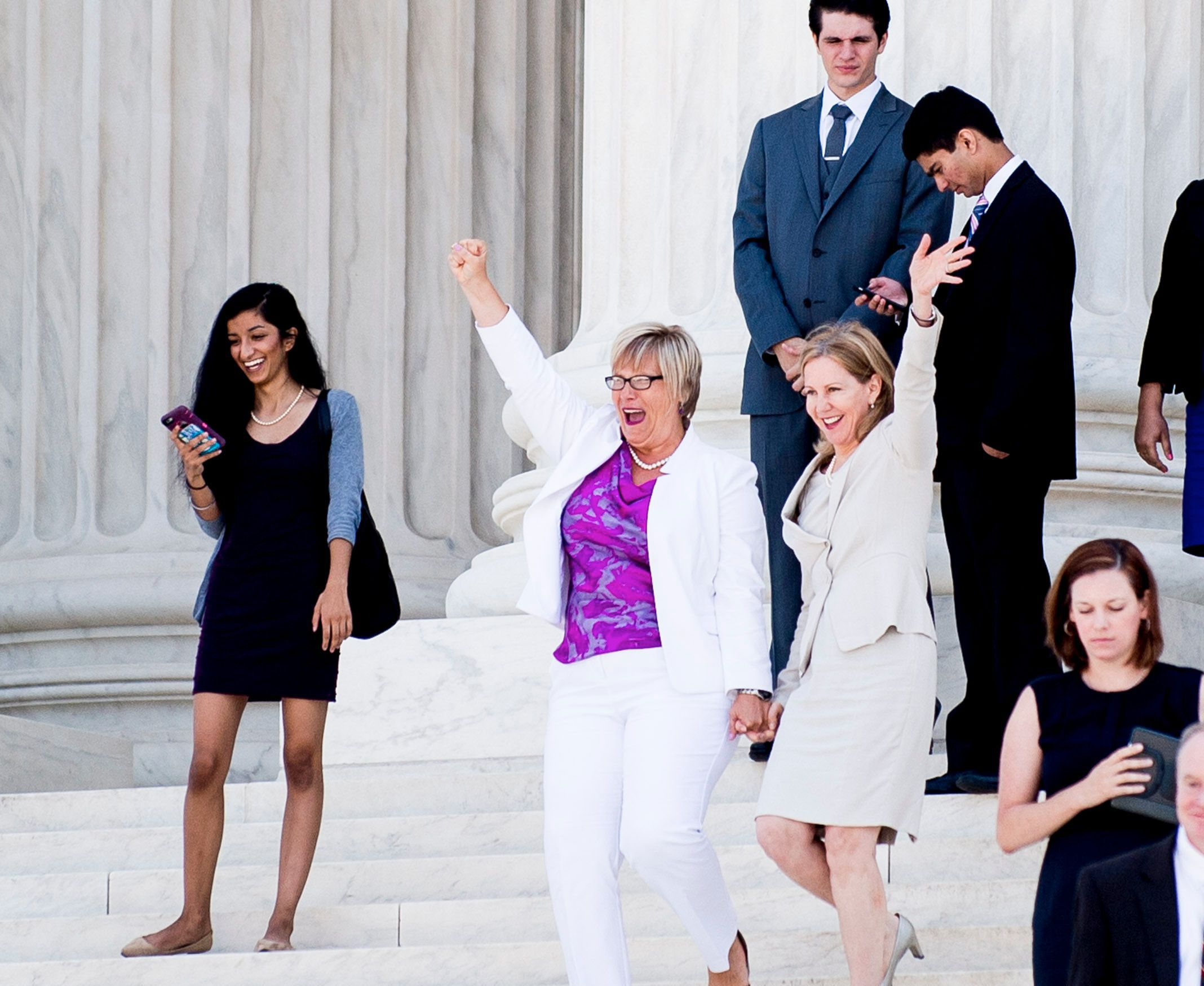 SCOTUS Upholds Abortion Rights in Texas: Abortion provider Amy Hagstrom-Miller and Nancy Northup, President of The Center for Reproductive Rights on the steps of the United States Supreme Court on June 27, 2016 in Washington, DC.