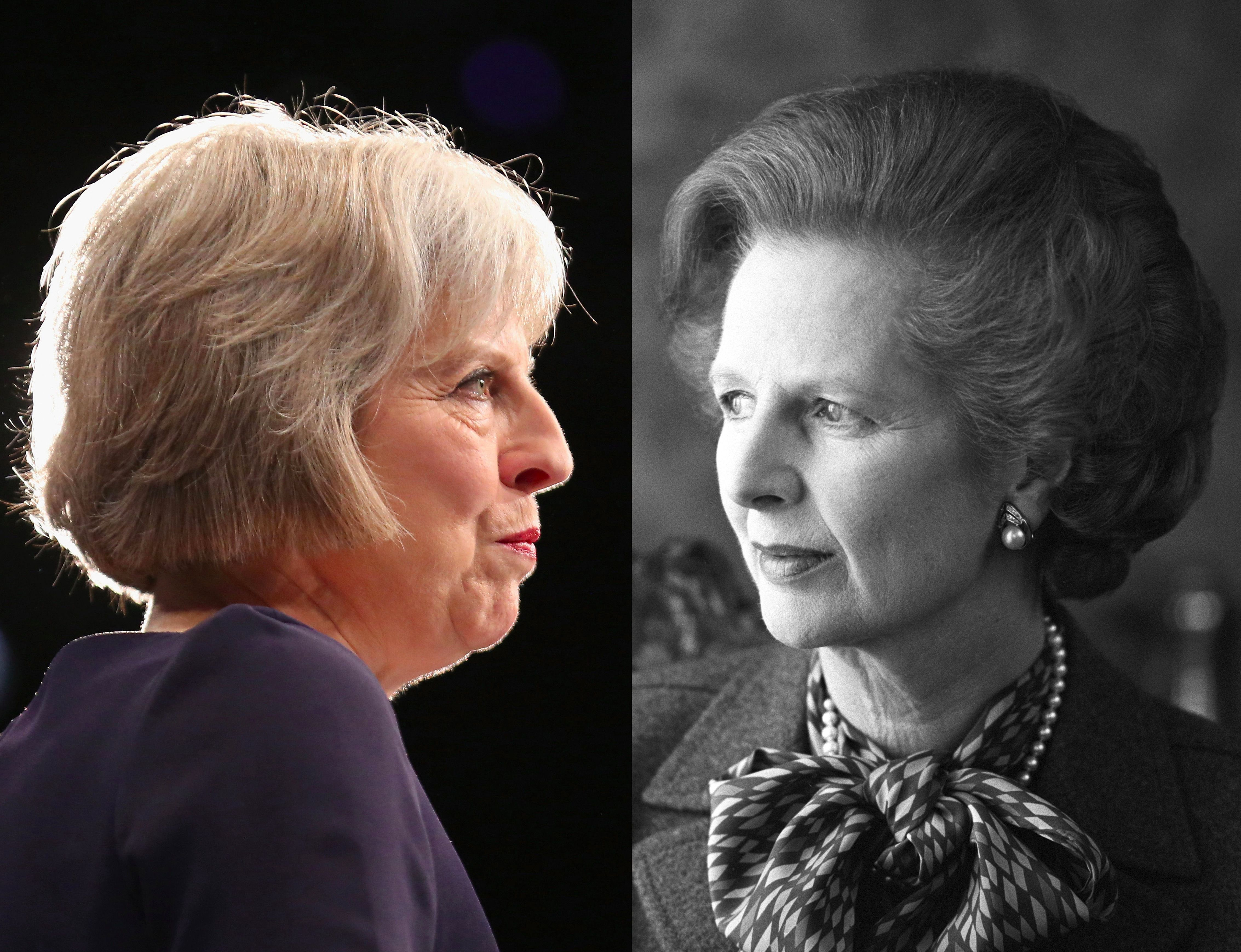 """British Conservative Prime Minister Theresa May, and """"Iron Lady"""" predecessor Margaret Thatcher."""