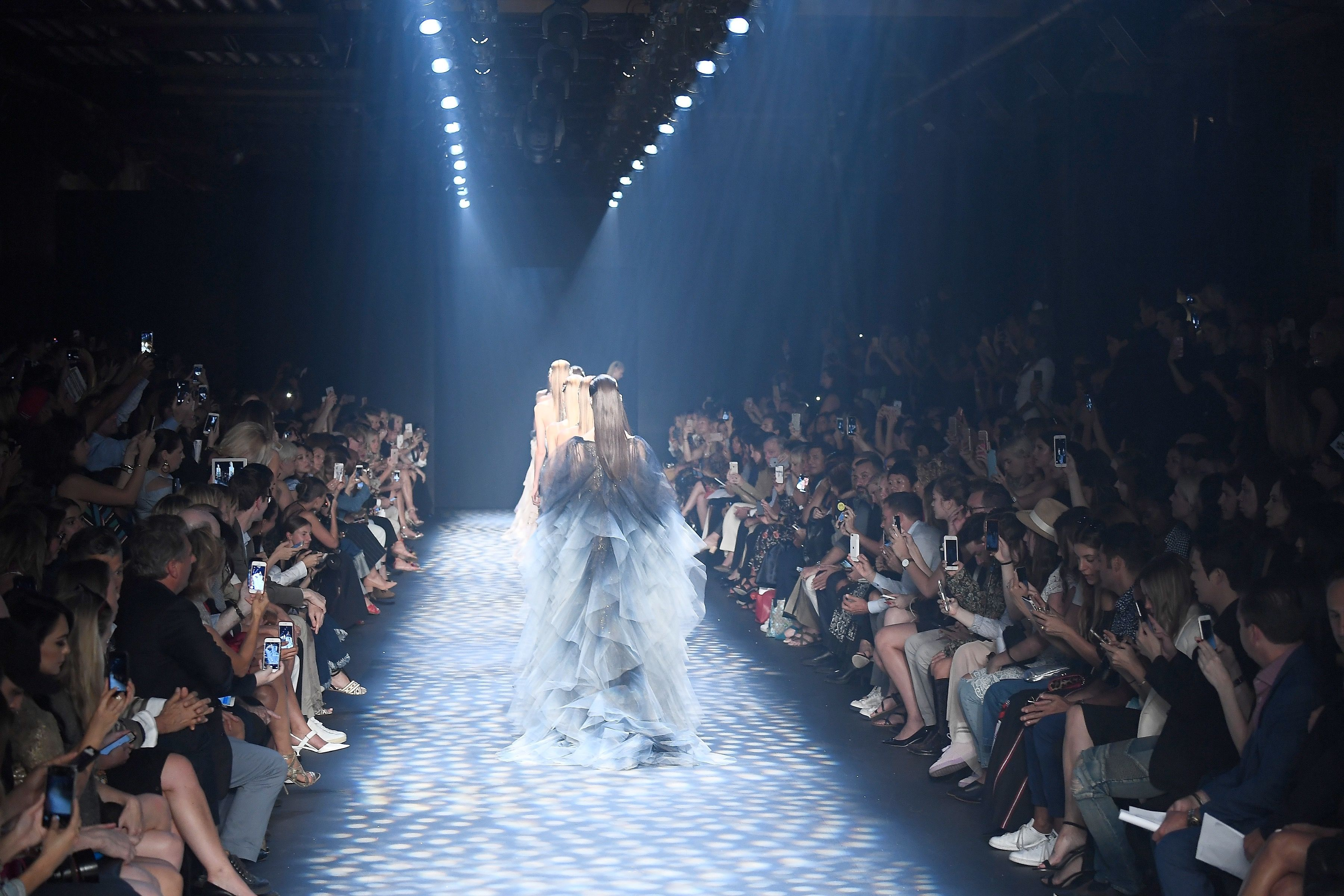Models walk in the finale of the runway at the Marchesa fashion show during New York Fashion Week: The Shows at The Dock, Skylight at Moynihan Station on September 14, 2016 in New York City.
