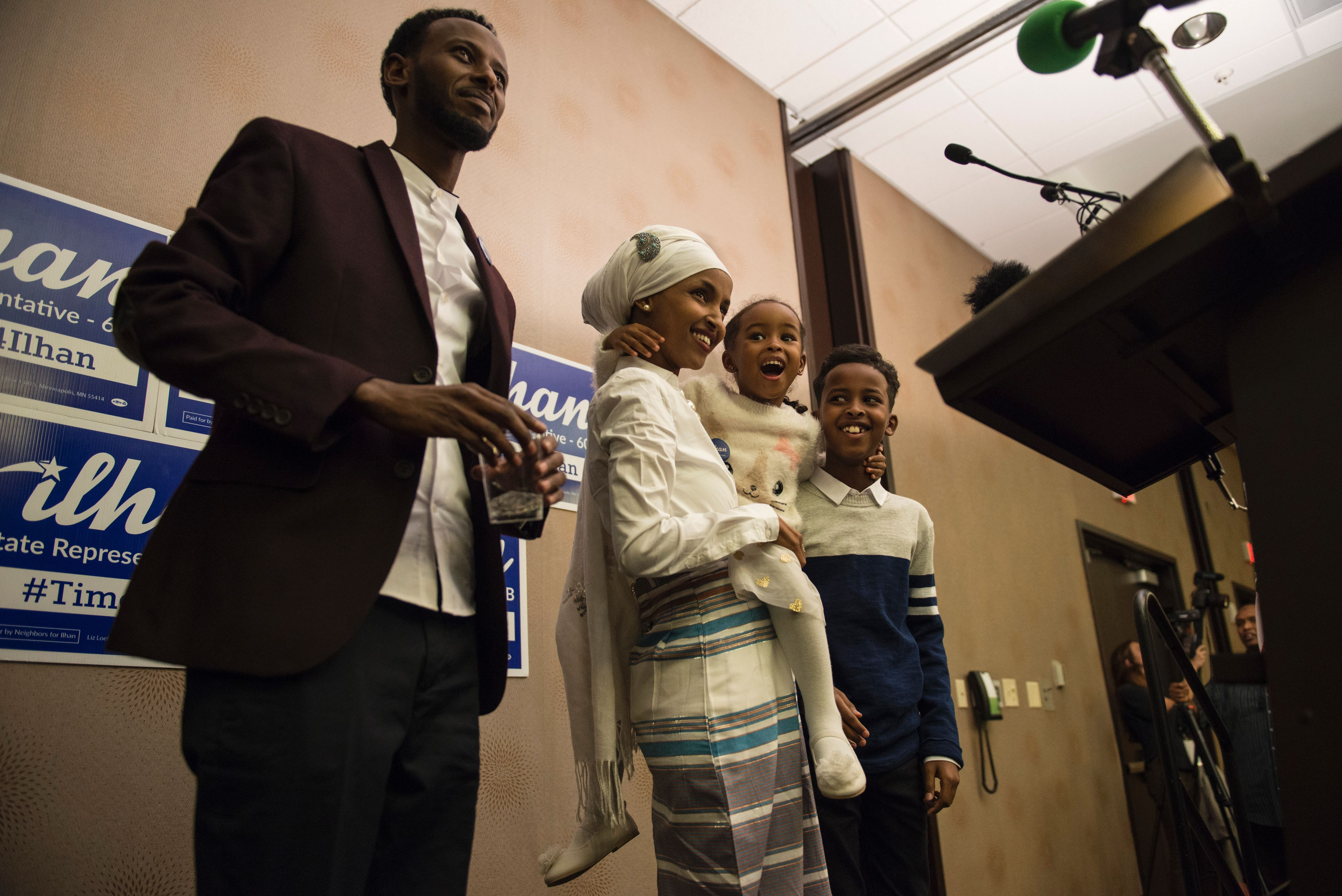 Ilhan Omar, candidate for State Representative in Minnesota, stands with her family during her victory party on election night, November 8, 2016 in Minneapolis, Minnesota.