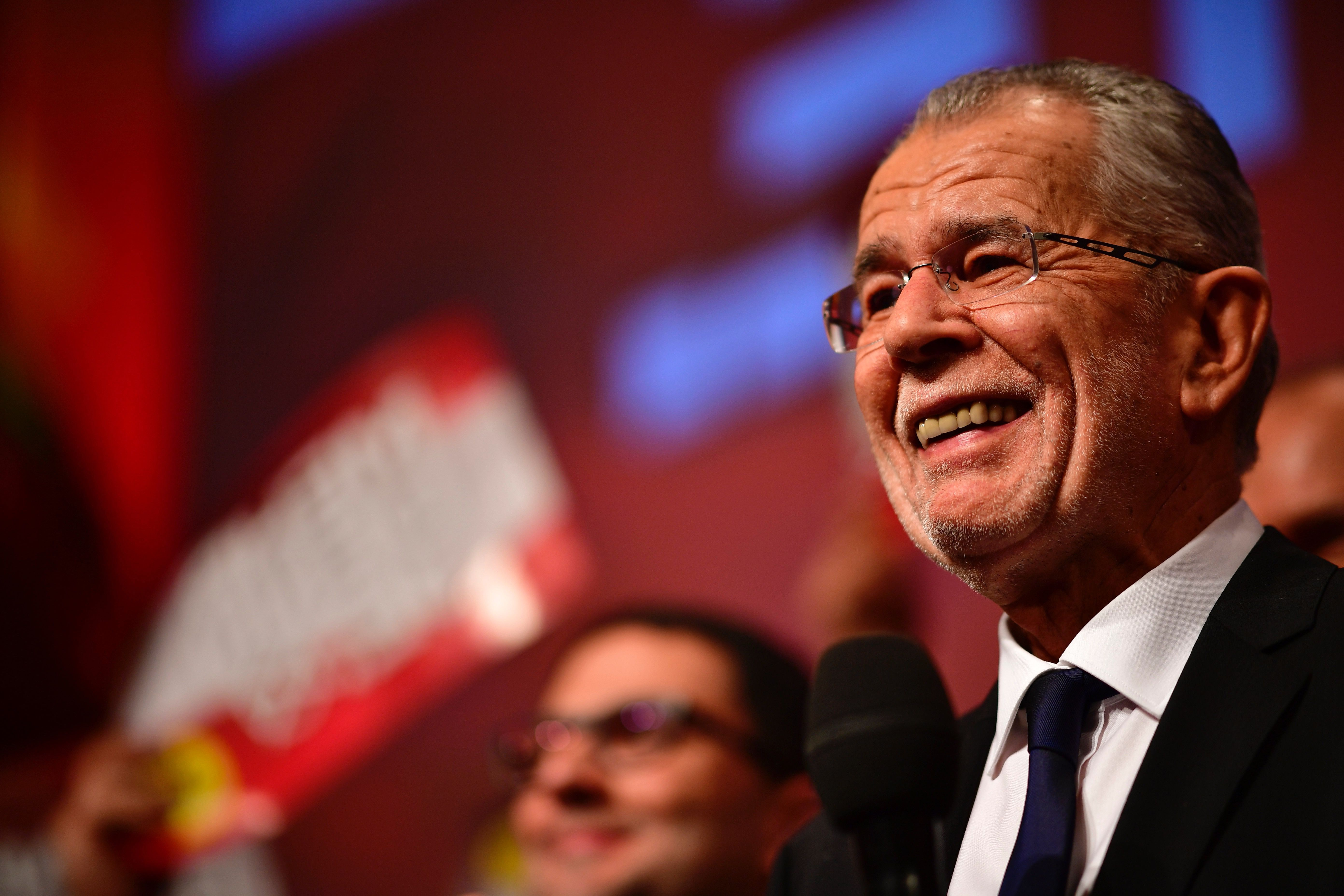 Alexander Van der Bellen celebrates his victory in the Austrian presidential election.