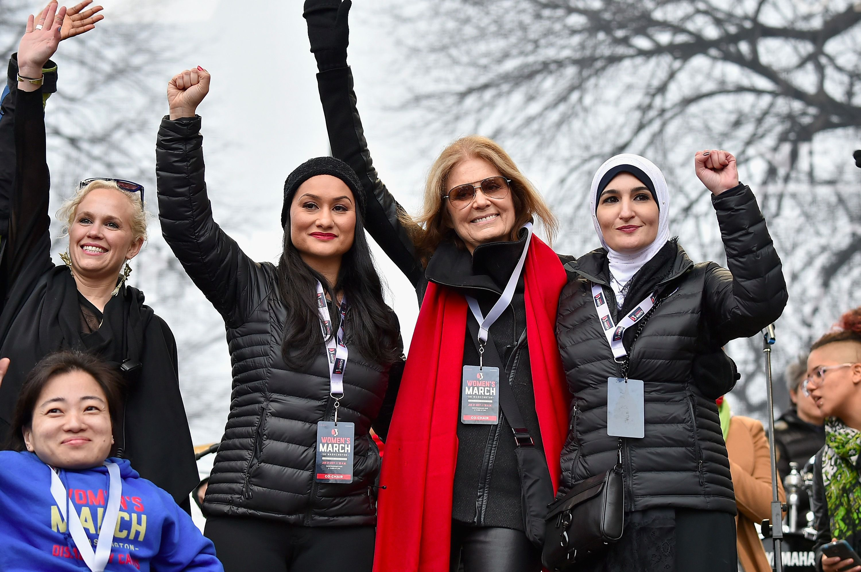 Linda Sarsour, right, standing beside Gloria Steinem at the Women's March.
