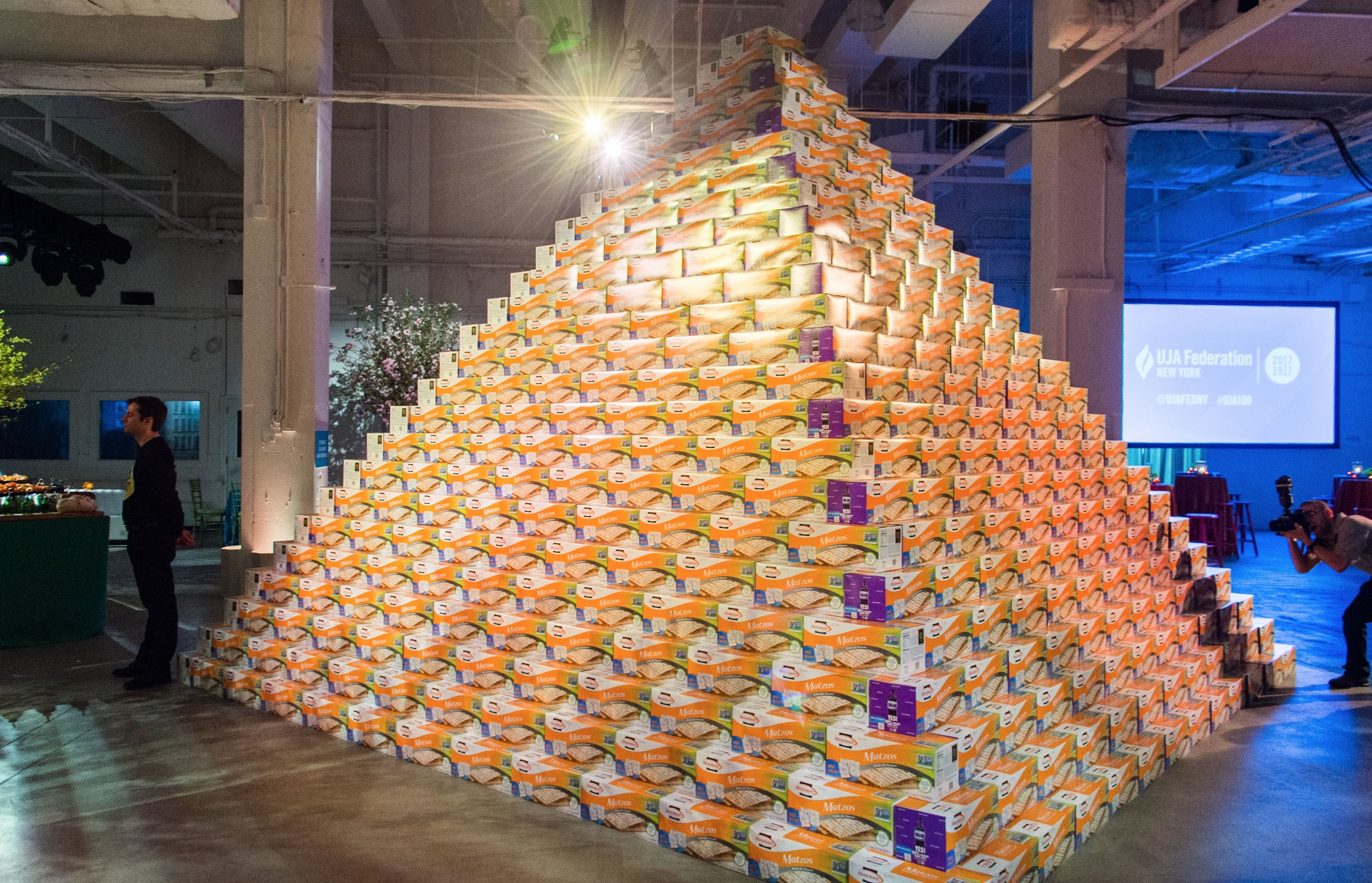 A pyramid of matzah boxes at the UJA-Federation of New York's 2017 gala in April.