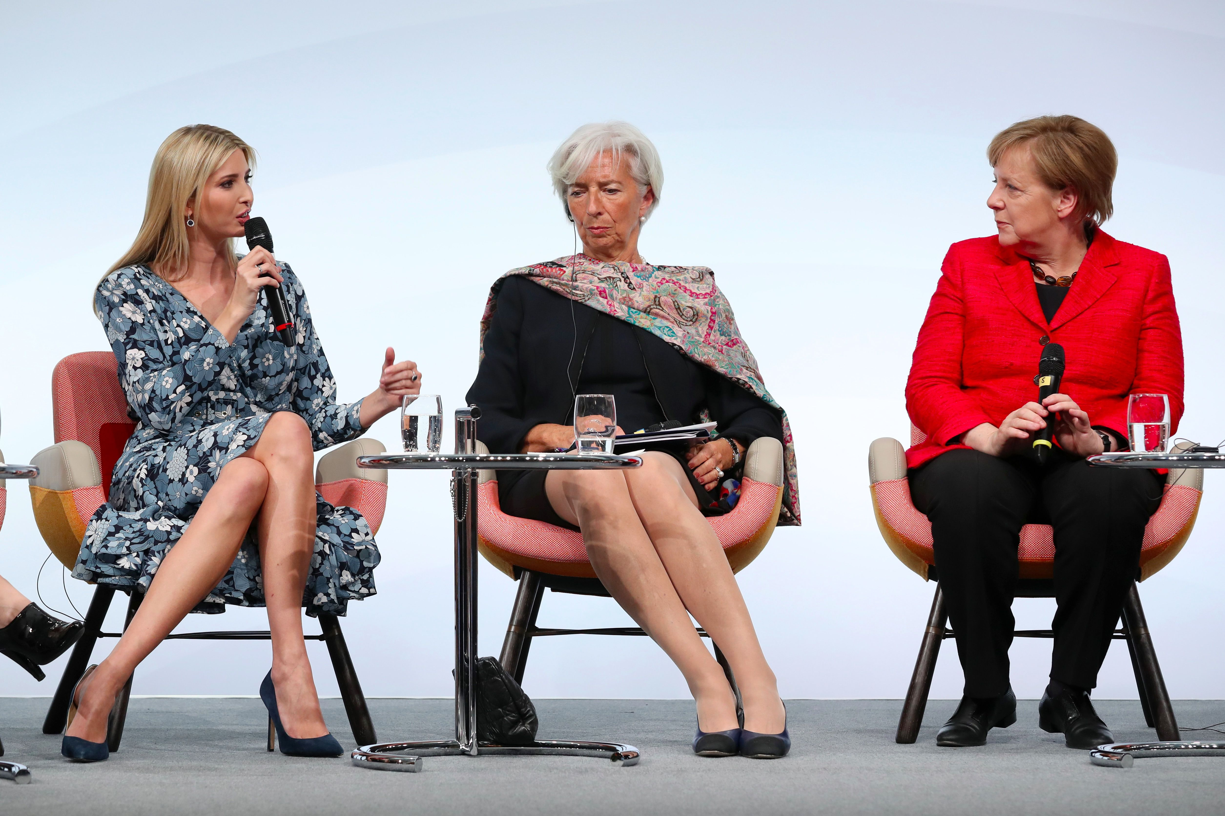 Ivanka Trump with IMF Managing Director Christine Lagarde and German Chancellor Angela Merkel.