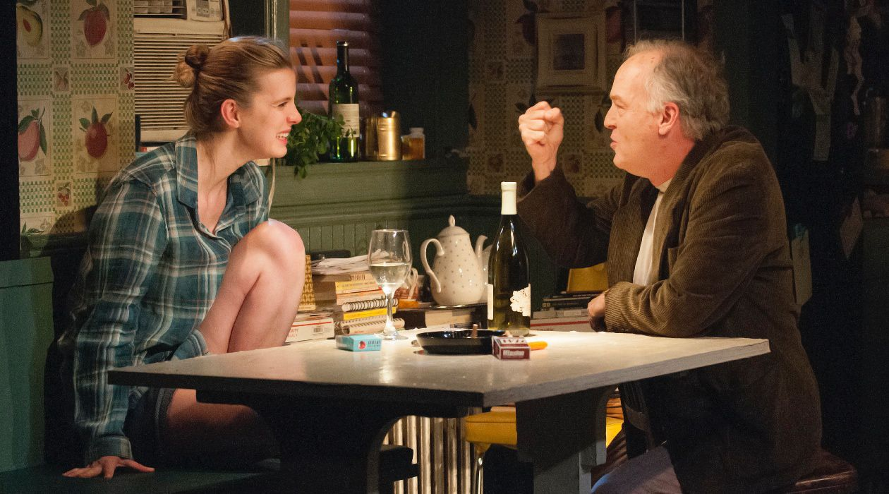 """Story Within a Story: Betty Gilpin and Reed Birney star in Halley Feiffer's """"I'm Gonna Pray For You So Hard"""" at the Atlantic Theater Company."""