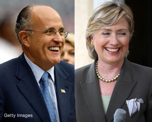 Two New Yorkers, Rudolph Giuliani and Hilary Clinton, were seen as the least religious presidential candidates in a survey.