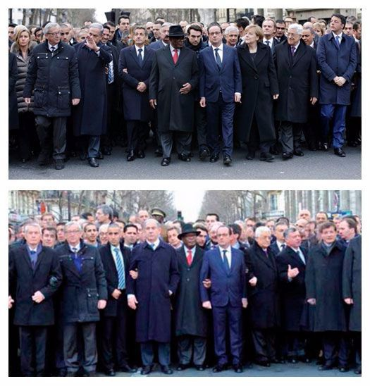 The top photograph — the original — shows Angela Merkel walking with (male) world leaders. The bottom, photoshopped image appeared in Ami.