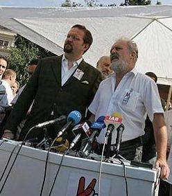 Partners: Sebastian Gorka (left) and Tamás Molnár, former vice president of Jobbik, appear together at a 2006 press conference of the Hungarian National Committee.