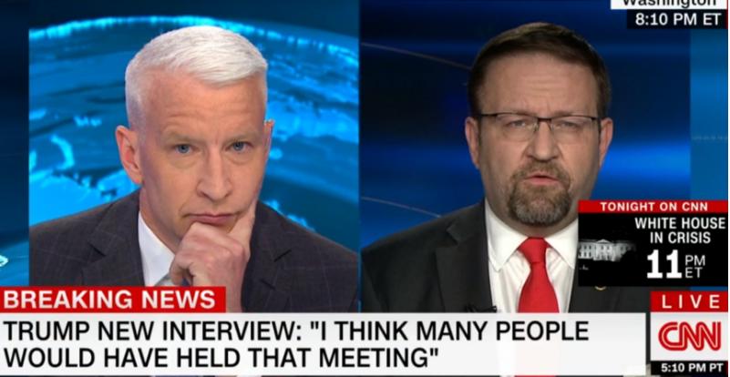Sebastian Gorka is interviewed by CNN's Anderson Cooper.