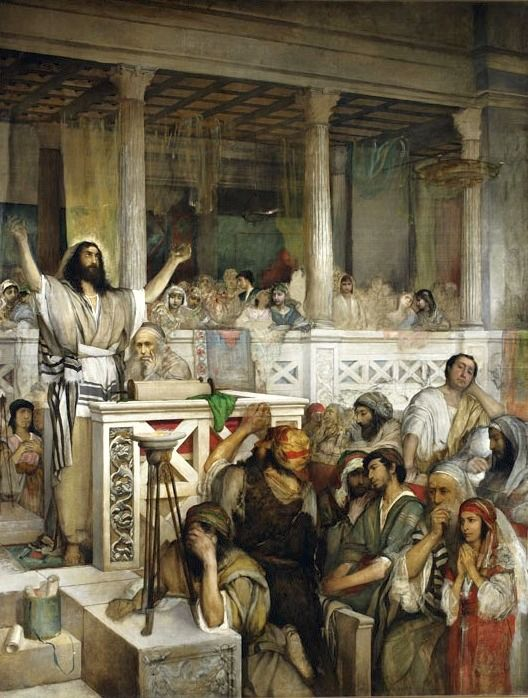 "Maurycy Gottlieb's 1879 painting ""Christ Preaching in Capernaum"" depicts Jesus as a humane figure."