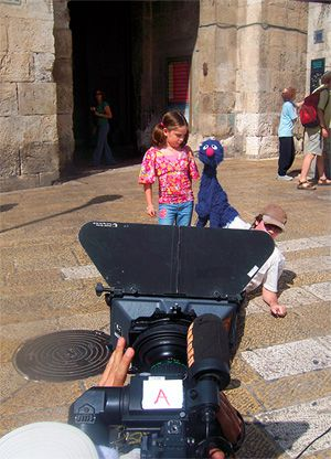 Grover and Guide: The Jaffa Gate, above, the Western Wall and the Dead Sea are among the backdrops for the new shows.