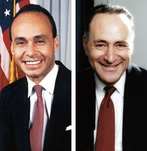 Alliance: Luis Gutierrez (left) and Charles Schumer are trying to drive reform through Congress.