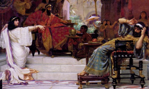 "Shake Those Groggers: Ernest Normand's 1888 painting, ""Esther Denouncing Haman."""