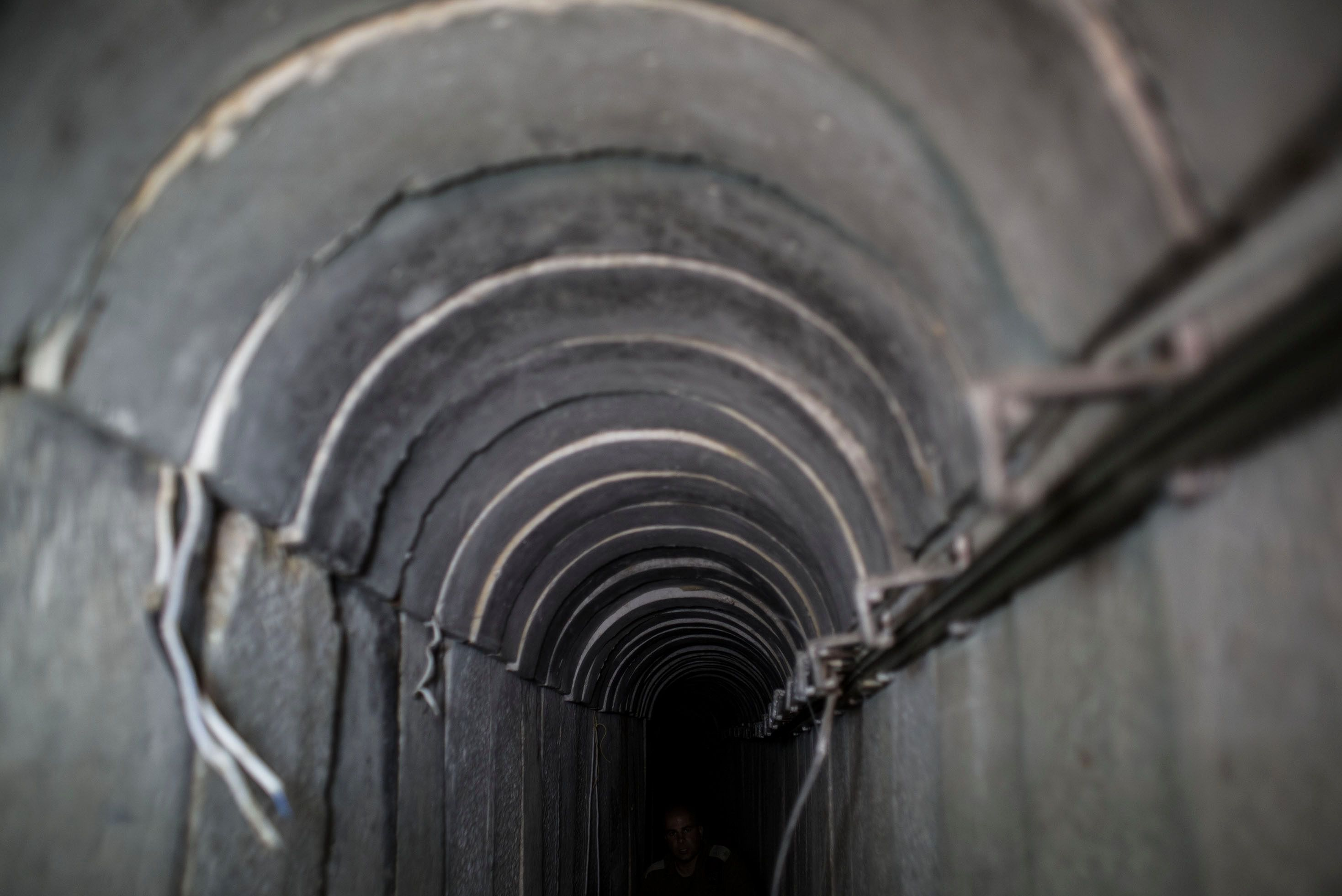 A tunnel built underground by Hamas militants leading from the Gaza Strip into southern Israel.