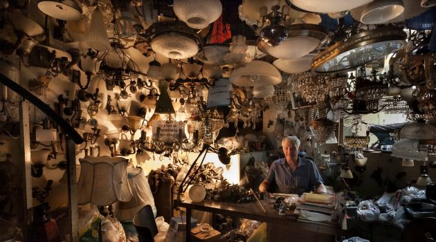 Light Work: Moishe Meirovich, captured here on Assi Haim?s blog HaMordim, has operated his Tel Aviv lamp shop since 1963.