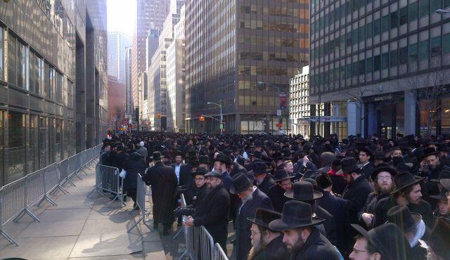 ?Evil Law:? Ultra-Orthodox Jews protest the Israeli draft bill in Manhattan on March 9, 2104.