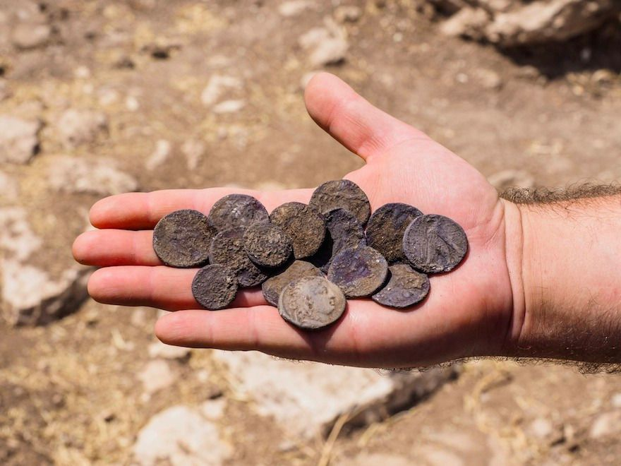 The cache of silver coins found in Modiin-Maccabim-Reut in April 2016.