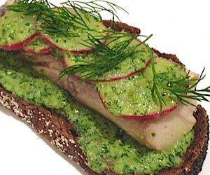 Pickled Bluefish, Russian Rye, Salsa Verde