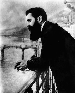 He Willed It: Theodor Herzl gazes over a hotel balcony during the First Zionist Congress in Basel, Switzerland.
