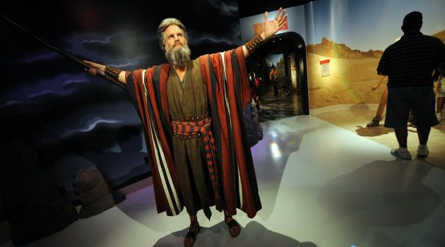 Waxing Grandiloquent: Charlton Heston as Moses in Madame Tussauds Wax Museum.