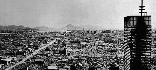 Obliteration: Hiroshima after the dropping of the atom bomb. Cohen argued that the neutron bomb was more moral because it caused less collatoral damage to infrastructure and civilians.