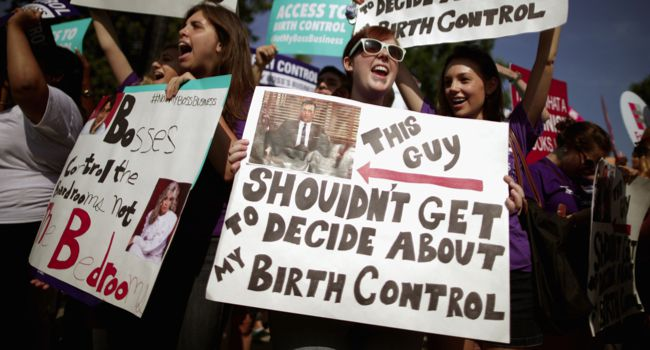 Our Rights: Protestors in front of the Supreme Court on June 30 to greet the Hobby Lobby decision.